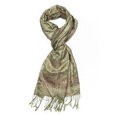Light Olive Jamavar Silk Scarf