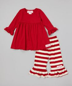 Cute for Christmas time?! This Wine & Cream Dress & Ruffle Pants - Infant, Toddler & Girls is perfect! #zulilyfinds