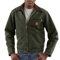 Carhartt Men's Dark Brown Sandstone Detroit Jacket/Blanket Lined - front