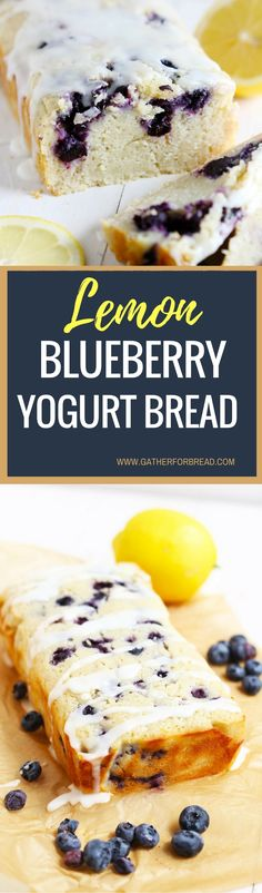 Lemon Blueberry Yogurt Bread - Homemade moist lemon bread with fresh blueberries, topped with a lemon glaze. Made with Greek yogurt as a healthy choice. Great quick bread to serve in the summer.