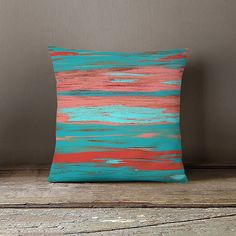 Coral Teal Throw Pillow Cover Aqua Light Coral by HLBhomedesigns