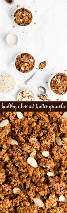 Healthy Almond Butter Granola – full of big crunchy clusters & only 122 calories in each serving! This homemade granola recipe is really easy to make! I make a batch almost every weekend. Breakfast Crockpot Recipes, Vegetarian Breakfast Recipes, Snack Recipes, Baking Recipes, Healthy Scones, Healthy Breakfasts, Homemade Almond Butter, Healthy Granola Bars, Muesli