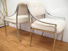 Mid century modern Milo Baughman chrome upholstered chairs. Got the exact chairs. Want to upholster them like these.
