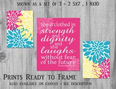 Bible Verse from Proverbs 31:25 Set of 3 prints