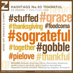 Hashtags No. 03 Thankful Brushes and Stamps - Photoshop Brushes Project Life, Scrapbooking Layouts, Digital Scrapbooking, Typography Design, Lettering, Photoshop Brushes, Journal Cards, Word Art, Hashtags