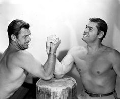 Buster Crabbe & Johnny Weissmuller arm wrestling