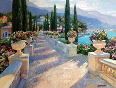 "Original Painting ""Lake Como Vista, Italy by Howard Behrens Tuscan Living Rooms, Italian Lakes, Italy Art, Lake Como, Art Background, Fine Art Gallery, Beautiful Paintings, American Artists, Landscape Art"