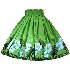 kauai green single hawaiian pa'u hula skirt
