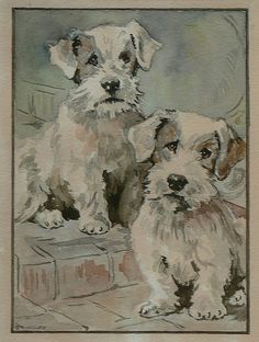 Watercolour of terriers by G Rudgley http://www.flickriver.com/photos/etchingsplus/sets/72157622383884707/