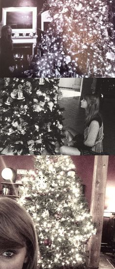 Taylor with Christmas trees <3 2011, 2013, 2014