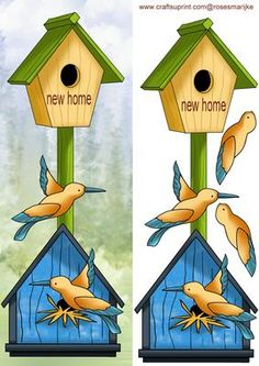 Large Dl Card Birdhouses new home on Craftsuprint designed by Marijke Kok - great card for a new home! - Now available for download!