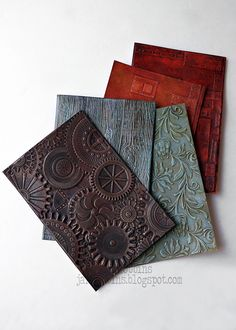 When I was trying out these new Tim Holtz embossing folders with dry-brushing different paint finishes, I was surprised how much I . Tim Holtz, Distress Ink Techniques, Embossing Techniques, Card Making Tips, Card Making Techniques, Card Tricks, Timmy Time, Anna Griffin Cards, 3d Texture
