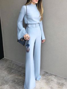 Mode reine Farbe halber hoher Kragen-Blau-Anzug - Carly - - Care - Skin care , beauty ideas and skin care tips Classy Outfits, Chic Outfits, Beautiful Outfits, Blazer Outfits, Jean Outfits, Look Fashion, Womens Fashion, Feminine Fashion, Fashion 2018