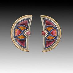 82eda48f36f5 Bouclier Cloisonne Enamel Earrings  handmadejewelry Cosas Increibles