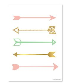Another great find on #zulily! Pink & Gold Arrow Wall Art #zulilyfinds