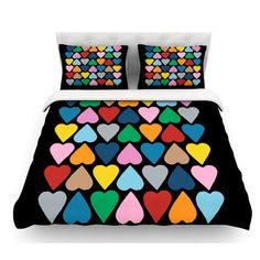 East Urban Home Up and Down Hearts by Project M Featherweight Duvet Cover Size: Queen, Color: Multi/Black