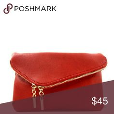 """Red Two-Way Foldover Clutch Product Description  Two- Way Fold Over Clutch  Dimensions - 9""""L x 6""""H Chain strap and wrist strap included Faux-laether Gold-tone hardware Front compartment - 3 credit card slots Main compartment - 1 zipper pocket and 2 slip pockets Closure - Zipper and magnetic snap Bags Clutches & Wristlets"""