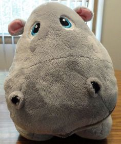 "Stuffies 2011 Gray Hippo Plush Stuffed Animal 19"" Secret Storage Pockets NWOT…"