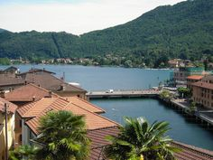 Lake Lugano and the bridge that brings you from Switzerland to Italy.  view from Ponte-Tresa CH