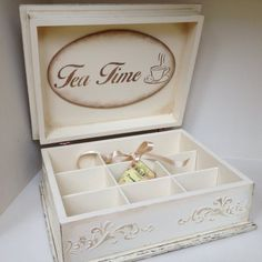 Tea box vintage cream tea time box by JelenaDecoupageChic on Etsy Decoupage Vintage, Decoupage Paper, Teacup Crafts, Stencil Wood, Tea Storage, Cream Tea, Tea Box, Vintage Box, Wooden Boxes