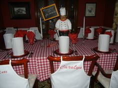 Pizza party....at each place setting there was a pizza pan (to make their very own pizza bought at the Dollar Tree) a chefs hat and an apron with each person's name on it.