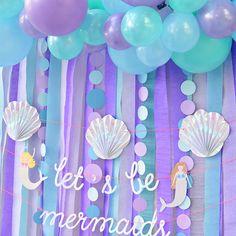 Mermaid Birthday Party Decorations Diy, Mermaid Birthday Cakes, Diy Party Decorations, Birthday Party Themes, Baby Girl Birthday Theme, Underwater Party, Disney Princess Party, 14th Birthday, Diy And Crafts