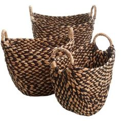 Product Features:The Eco Friendly Bachman woven set brings rustic beauty to home organization with naturally-colored woven water hyacinthThey are the perfect choice for an active homeWith easy-to-grip handles, they makes clearing clutter a br