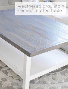 Gray Coffee Table wood top with weathered gray stain on IKEA hemnes table (Centsational Girl)wood top with weathered gray stain on IKEA hemnes table (Centsational Girl) Coffee Table Makeover, Diy Coffee Table, Diy Table, Ikea Table, Ikea Hemnes Coffee Table, Dining Table, Grey Wood Coffee Table, Wood Table, Furniture Projects
