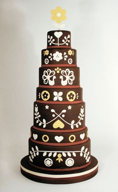 Charm City Folk Art Cake. Oh my.  Just imagine this in different colors!  My imagination is going crazy.