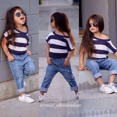 Love this little girl.casual outfit,boyfriend jeans,striped top and white converse