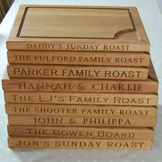 hand made engraved chopping boards, bread boards, carving boards & cheese boards; boot jacks, door stops, wall clocks; by Oak & Personal Personalised Gin, Personalized Gifts, Wall Clock Hands, Solid Oak Doors, Carving Board, Sunday Roast, Bread Board, Wooden Gifts, Gin And Tonic