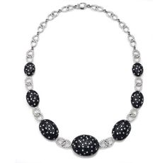 GABRIELLE'S AMAZING FANTASY CLOSET | Black and White Diamond Pave Cabochon Necklace with White Diamond Pave Links, mounted in 18K White Gold |
