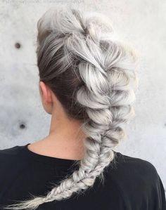 gray messy mohawk braid                                                                                                                                                                                 More