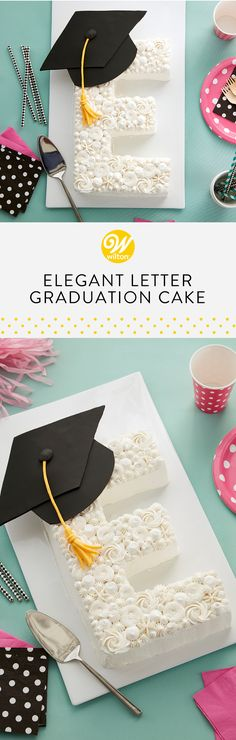 cool Celebrate your graduate with this Elegant Letter Graduation Cake. Make this elegant monogram graduation cake using our Countless Celebration. Letter Cake Toppers, Monogram Cake Toppers, Wedding Cake Toppers, Alphabet Cake, Foto Pastel, Cake Lettering, Bolo Cake, Number Cakes, Rustic Cake