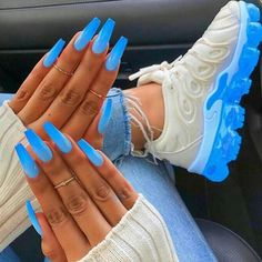 In look for some nail designs and ideas for your nails? Here's our list of must-try coffin acrylic nails for fashionable women. Neon Blue Nails, Blue Acrylic Nails, Summer Nails Neon, Blue Coffin Nails, Baby Blue Nails With Glitter, Summer Nail Art, Acrylic Summer Nails Coffin, Blue Stiletto Nails, Bright Summer Acrylic Nails
