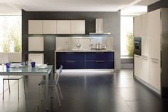 beige / blue modern kitchen