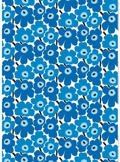 The Pieni Unikko print of medium-sized flowers brightens up any room; The cotton Pieni Unikko print isn't limited to static creations, it also makes go Motif Vintage, Vintage Patterns, Vintage Fabrics, 4 Image, Marimekko Fabric, Types Of Curtains, Flower Phone Wallpaper, Fabric Online, Beautiful Patterns