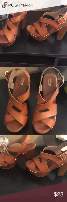 Brown heels with gold studs Brown heels with gold studs. Will negotiate and post more pics if wanted Shoes Heels