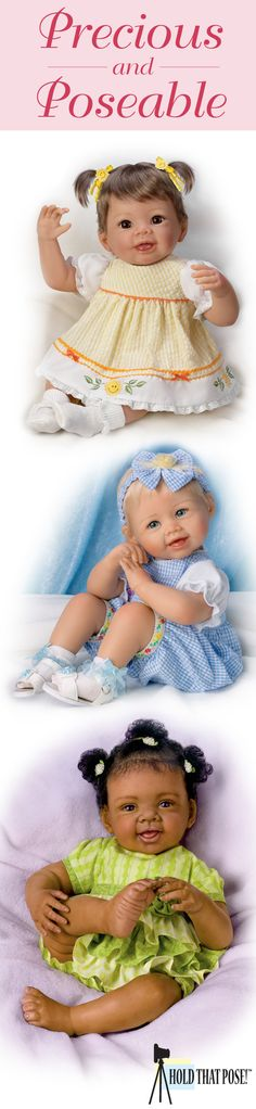 Create pose after adorable pose with these lifelike baby dolls featuring Hold That Pose! Technology, providing an infinite range of motion!