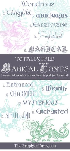 Free Magical Fonts - The Graphics Fairy