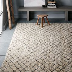 Put A Little Luxury In Your Step With The Watercolor Trellis Wool Shag Rug