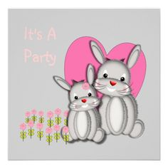 Cute Bunny Rabbit Themed Party Invitation   Such a cute picture of two fluffy grey bunny rabbits with pink flowers and heart. An adorable invitation for a little girls party or baby shower and easy to personalize with your details.
