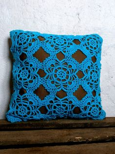 Brown linen pillow with vintage teal crochet