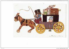 Illustration COLOMBO - Attelage Cheval Enfants Poupée Valises - 1847-2