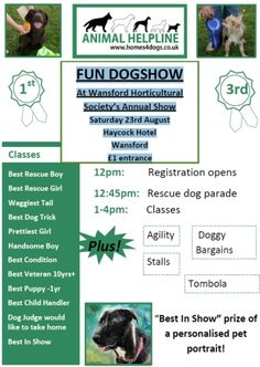 Dog Show @ The Haycock Hotel Wansford on Sat 23rd August 2014. A fun afternoon for doggy people raising funds for Animal Helpline rescue.