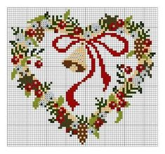 60 Ideas embroidery patterns tree wreath for 2019 Xmas Cross Stitch, Cross Stitch Christmas Ornaments, Cross Stitch Heart, Christmas Embroidery, Christmas Cross, Cross Stitching, Cross Stitch Embroidery, Cross Stitch Designs, Cross Stitch Patterns