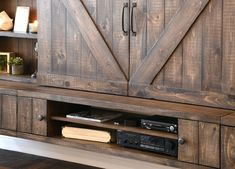 I really love this enchanting cheap interior barn doors Rustic Farmhouse, Rustic Wood, Outdoor Tv Cabinet, Tv Stand And Entertainment Center, Floating Tv Stand, Block Wall, Interior Barn Doors, Modern Rustic, Storage Spaces