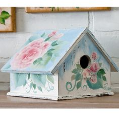 Shabby Chic Bird House. Donna Dewberry's beautiful roses on a pretty, shabby chic birdhouse. Create this with Donna Dewberry and FolkArt paints. #crafts #plaid crafts #folkart #birdhouse