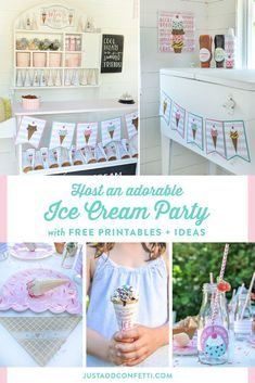 This adorable ice cream party is full of ideas, decorations, free printables and inspiration for a perfect summer party! Everyone will be screaming for ice cream at this party! #icecream #icecreamparty #partydecorations #partyprintables #freeprintables #JustAddConfetti