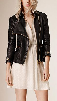 Black Diamond Quilt Detail Leather Biker Jacket - Image 1